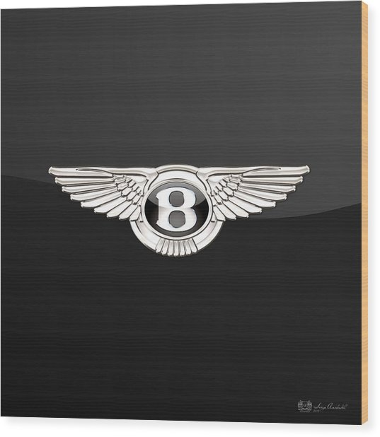 Bentley - 3 D Badge On Black Wood Print