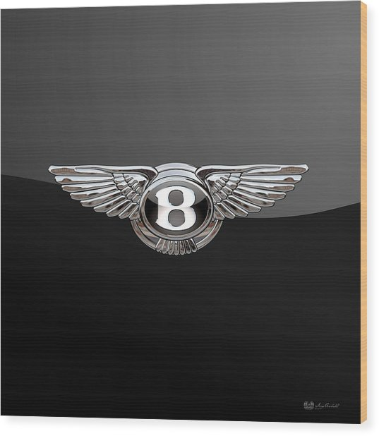 Bentley - 3d Badge On Black Wood Print