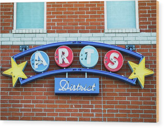 Bentonville Arts District Neon Sign Wood Print
