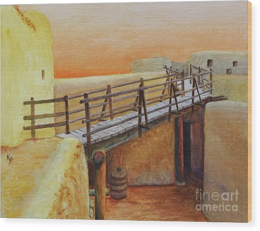 Wood Print featuring the painting Bent's Old Fort by Karen Fleschler