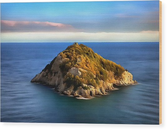 Wood Print featuring the painting Bergeggi Island by Enrico Pelos