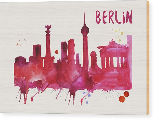 Berlin Skyline Watercolor Poster - Cityscape Painting Artwork Wood Print