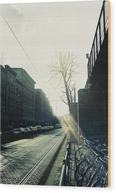 Berlin Street With Sun Wood Print