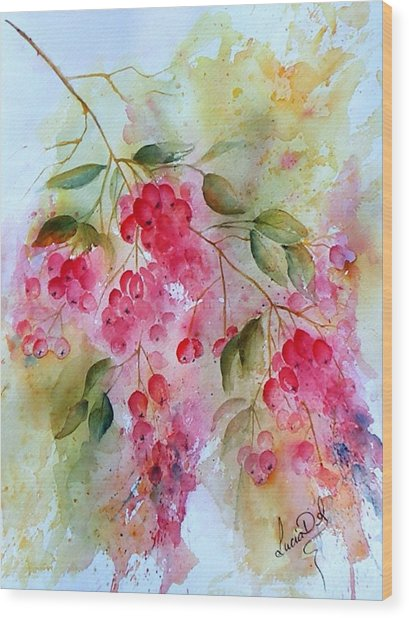 Berries Galore Wood Print by Lucia Del