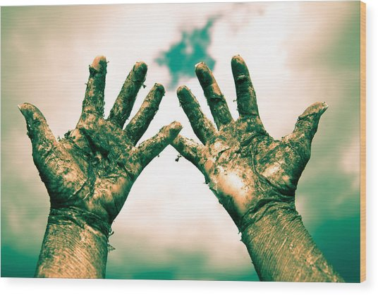 Beseeching Hands Wood Print