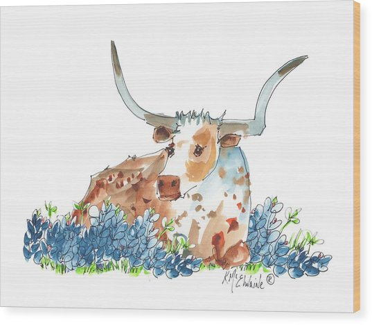 Bessie In The Bluebonnets Watercolor Painting By Kmcelwaine Wood Print
