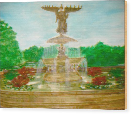 Bethesda Fountain Central Park Wood Print