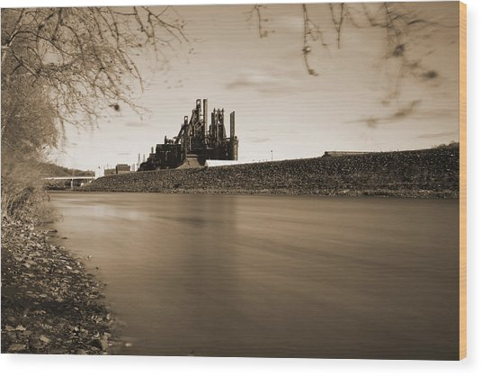 Wood Print featuring the photograph Bethlehem Steel Along The Lehigh by Jennifer Ancker