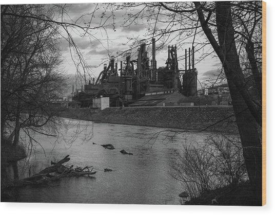 Wood Print featuring the photograph Bethlehem Steel Bw by Jennifer Ancker