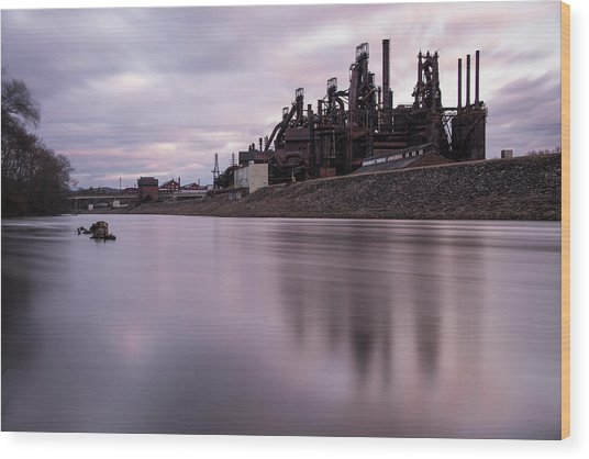 Wood Print featuring the photograph Bethlehem Steel Sunset by Jennifer Ancker