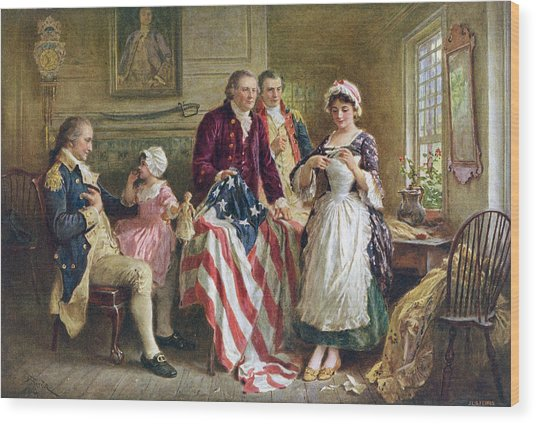 Betsy Ross And General George Washington Wood Print