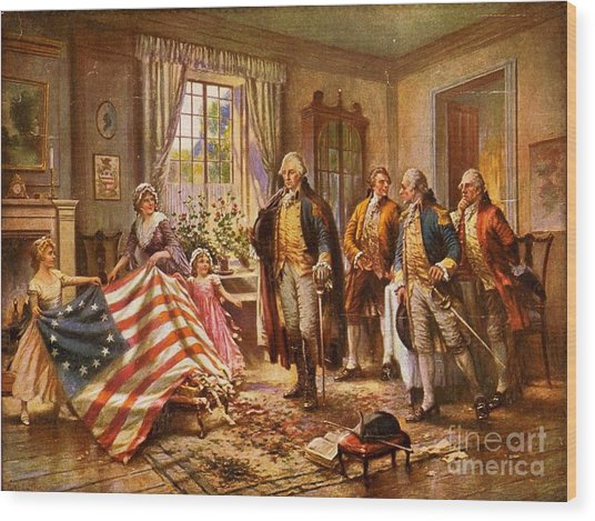 Betsy Ross Showing Flag To George Washington. Wood Print by Pg Reproductions