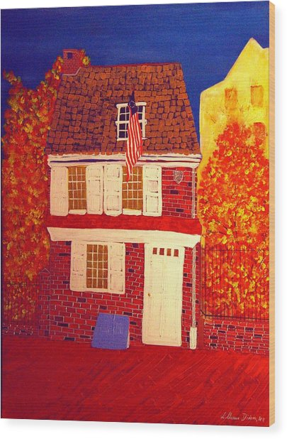 Betsy Ross's House Wood Print