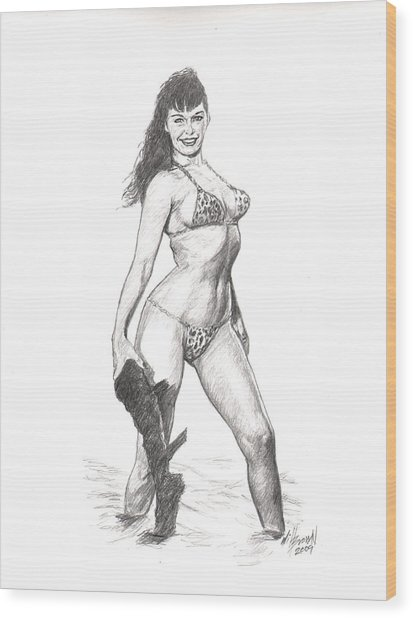 Betty Jungle Girl Wood Print by Will Brown