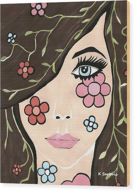 Betty - Contemporary Woman Wood Print