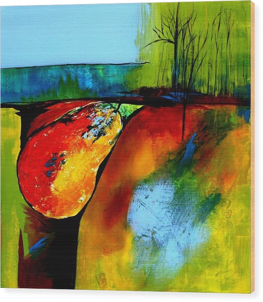 Between A Pear And A Rock Wood Print by Jane Robinson