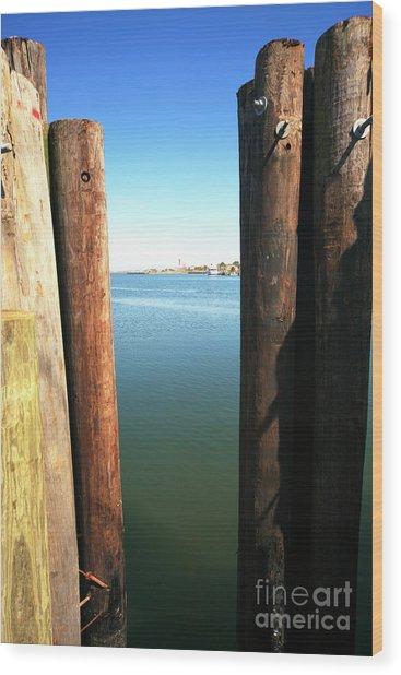 Between The Dock Poles At Long Beach Island Wood Print by John Rizzuto