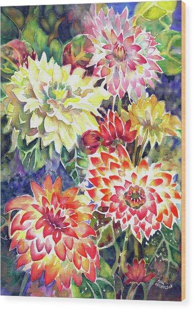 bety's Dahlias Wood Print