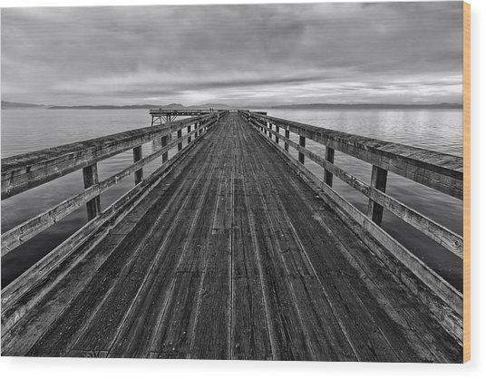 Bevan Fishing Pier - Black And White Wood Print