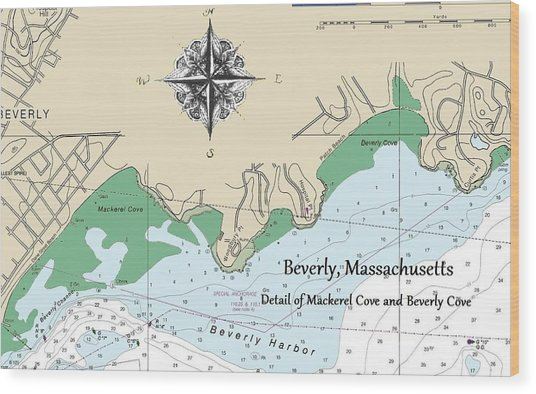 Beverly Cove Nautical Map Wood Print