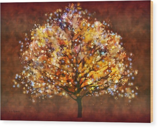 Wood Print featuring the painting Starry Tree by Valerie Anne Kelly