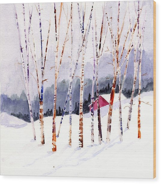 Beyond The Birch Thicket Wood Print