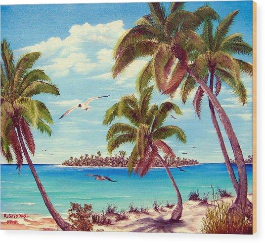 Beyond The Palms Wood Print by Riley Geddings