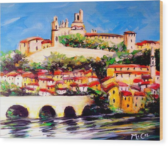 Beziers Reflections Wood Print