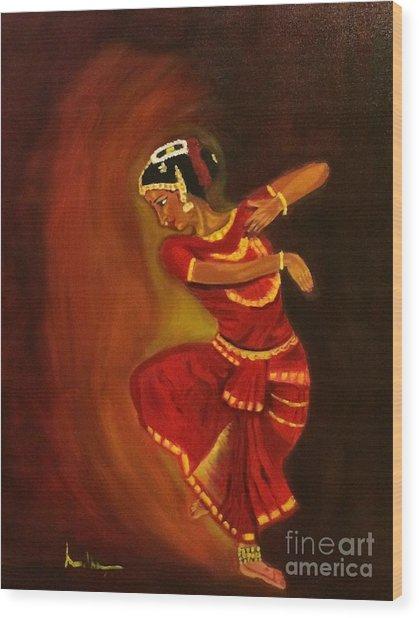 Bharatnatyam Dancer Wood Print