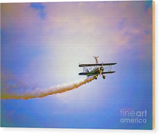 Bi-plane And Wing Walker Wood Print