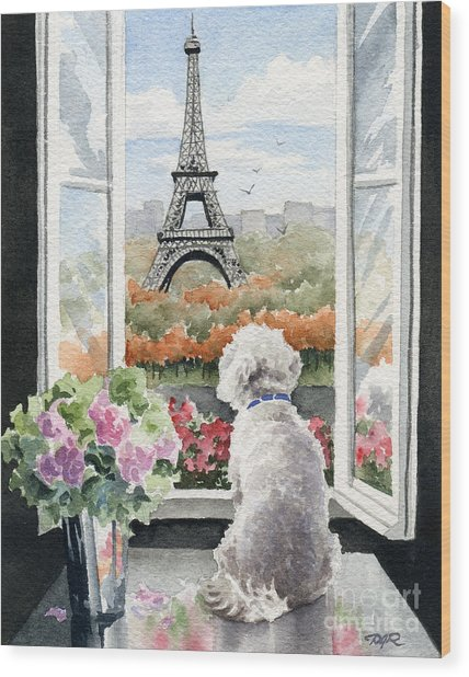 Bichon Frise In Paris Wood Print