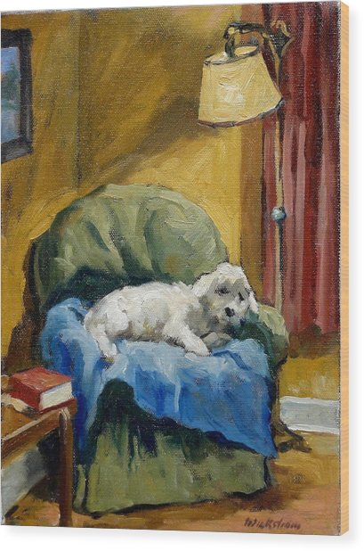 Bichon Frise On Chair Wood Print