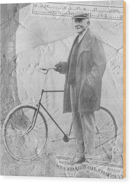 Bicycle And Jd Rockefeller Vintage Photo Art Wood Print