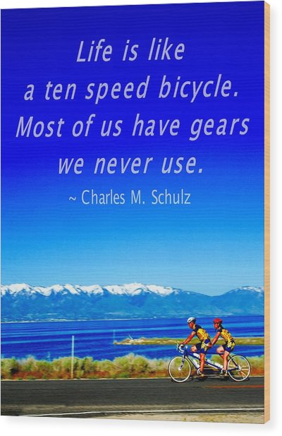 Bicycle Charles M Schulz Quote Wood Print