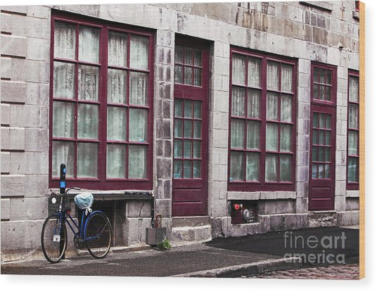 Bicycle In Old Montreal Wood Print by John Rizzuto