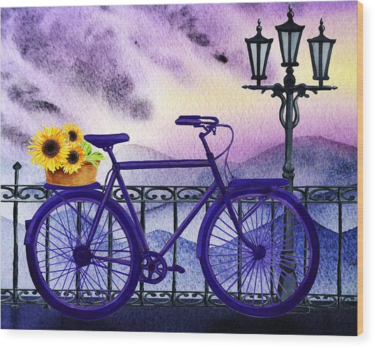 Blue Bicycle And Sunflowers By Irina Sztukowski  Wood Print