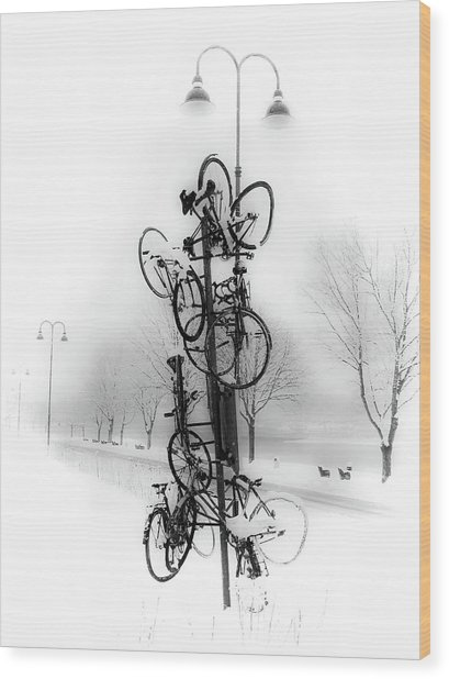Bicycle Lamppost In Winter Wood Print