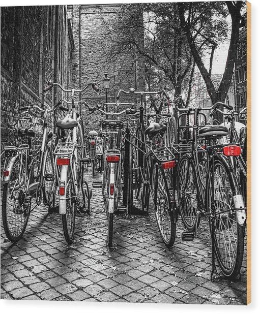 Bicycle Park Wood Print