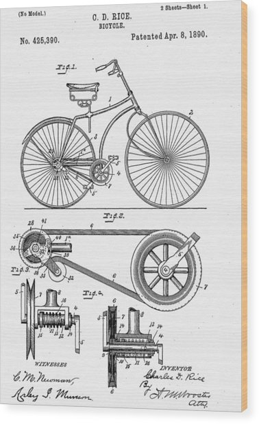 Bicycle Patent 1890 Wood Print