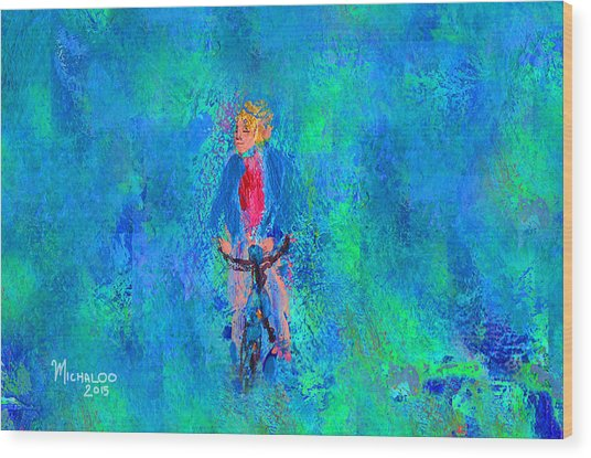 Bicycle Rider Wood Print