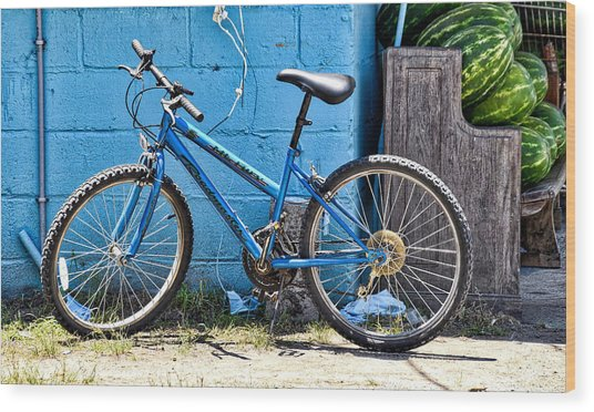 Bicycle With Watermelons Wood Print