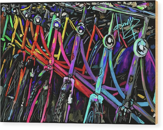 Bicycles In Amsterdam Wood Print