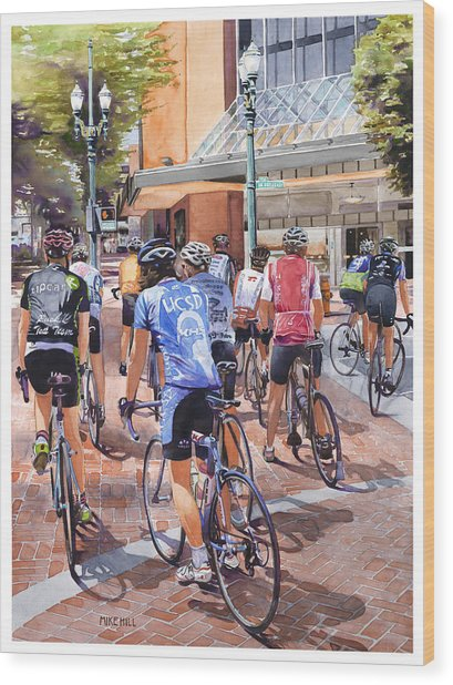 Bicycles On Broadway Wood Print by Mike Hill