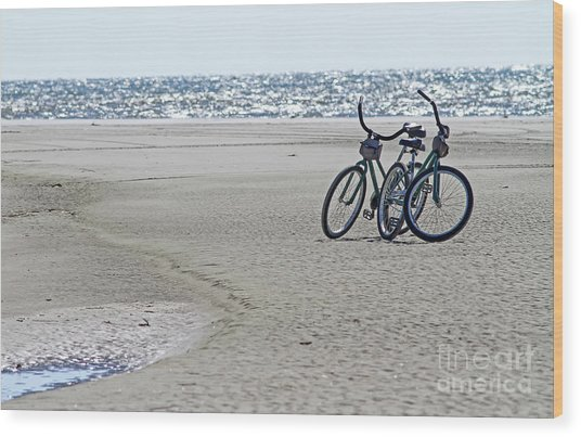 Bicycles On The Beach Wood Print
