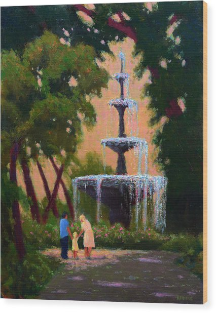 Bienville Square Fountain Wood Print