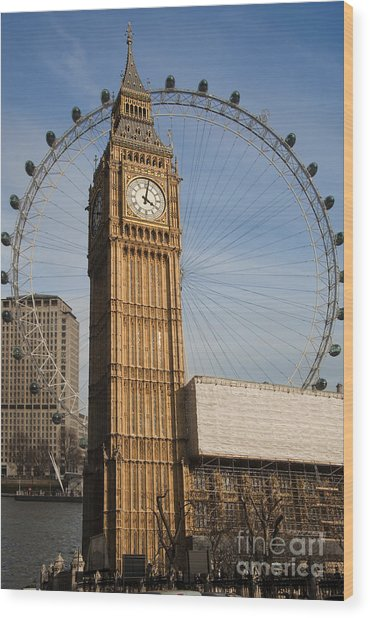 Big Ben And Eye Wood Print by Donald Davis