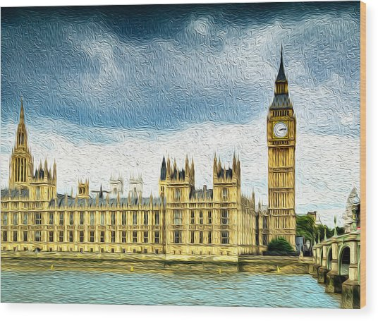 Big Ben And Houses Of Parliament With Thames River Wood Print