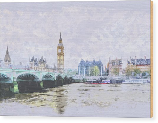 Big Ben And Westminster Bridge London England Wood Print