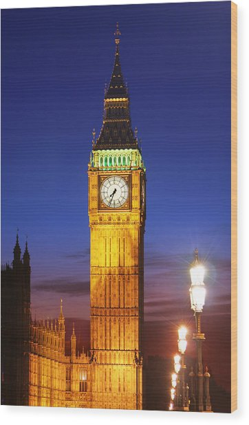 Big Ben At Night Wood Print by Dan Breckwoldt