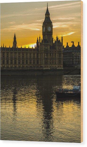 Big Ben Tower Golden Hour In London Wood Print